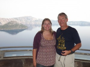 With Kathleen at Crater Lake NP on our way to Willamette University