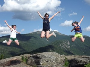 Molly, Erin and Libby leap for joy in New Hampshire (2012)